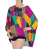 Sakady Damen Chiffon Batwing Bluse Shirt Top 3/4 Armel Tunika T-Shirt