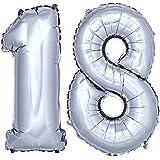 DEKOREX® Globo de la hoja 80 cm Balón de Helio Número de plata brillante argentado Decoración del globo del cumpleaños No 18