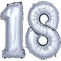 DekoRex® stagnola palloncino numero pallone ad elio palloncino palloncino decorazione di compleanno 120 centimetri in argento numero 18 - 60 ° Compleanno Palloncini