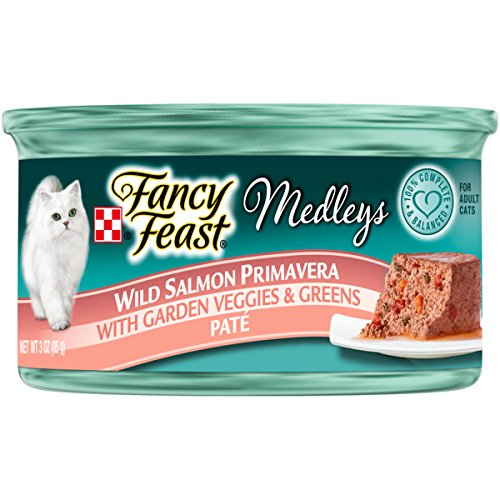 Purina Fancy Feast Wet Cat Food, Elegant Medleys, Wild Salmon Primavera Pate with Garden Veggies & Greens, 3-Ounce Can by Purina Fancy Feast