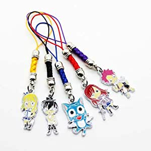FAIRY TAIL - Happy Natsu Erza Lucy Gray 5x Keychain Phone-Charm includes FREE Delivery