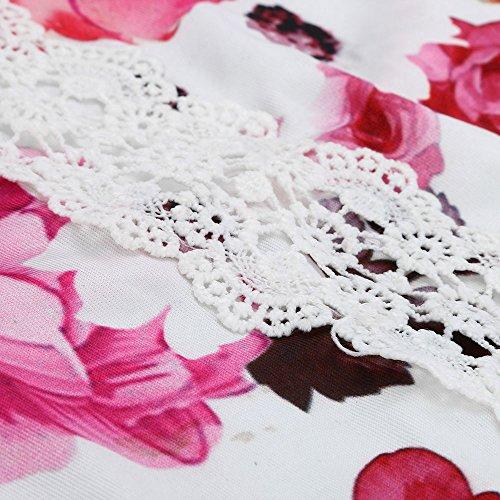 Longra Donna Cappuccio rotondo con stampa superiore Rosa Caldo