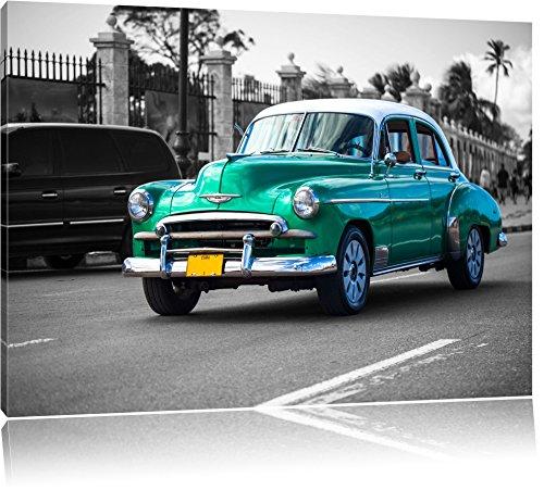 Oldtimer in Havanna schwarz/weiß Format: 120x80 auf Leinwand, XXL riesige Bilder fertig gerahmt mit Keilrahmen, Kunstdruck auf Wandbild mit Rahmen, günstiger als Gemälde oder Ölbild, kein Poster oder Plakat