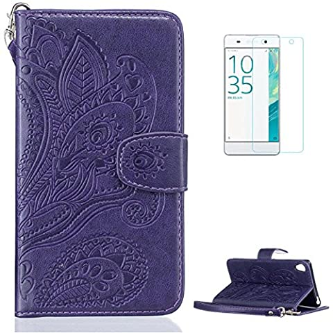 Housse Sony Xperia XA Coque en Cuir [Avec Gratuit Protections