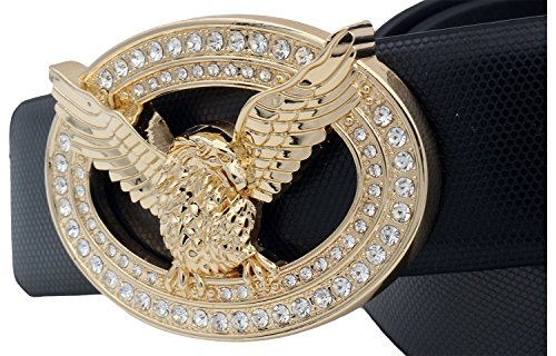 QHA Mens Leather Eagle Belt Waist Diamond Buckle 32mm Q51