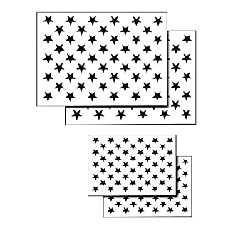 AcidTactical 4 PACK Spray Airbrush Painting Stencils American Flag 50 US Stars Small & Large