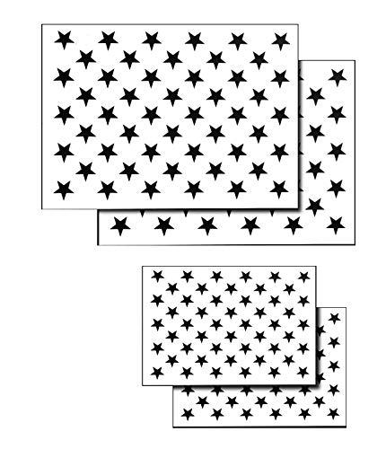 Acid Tactical® 4 Pack Spray Airbrush Malerei Schablonen amerikanische Flagge 50 US Sterne klein und groß (Schablone Us-flagge)