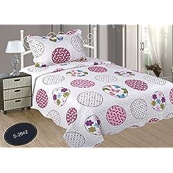 ForenTex- Colcha Boutí, (S-2642), cama 90 y 105 cm, 190 x 260 cm, +1 cojín, Estampada cosida, lacitos rosa, mandalas rosa, colcha barata, set de cama, ropa de cama. Por cada 2 colchas o mantas paga solo un envío (o colcha y manta), descuento equivalente antes de finalizar la compra.