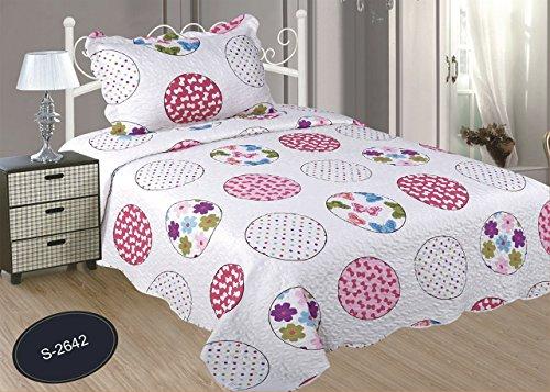 ForenTex- Colcha Boutí reversible, (S-2642), cama 90 y 105 cm, 190 x 260 cm, +1 cojín, Estampada cosida, lacitos rosa, mandalas rosa, colcha barata, set de cama, ropa de cama. Por cada 2 colchas o mantas paga solo un envío (o colcha y manta), descuento equivalente antes de finalizar la compra.