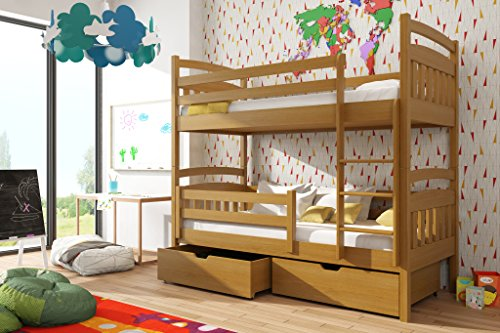 Brand New Wooden Bunk Bed with Storage GABI in Oak with Mattresses sold by Arthauss (RIGHT)