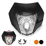 Jfgracing nero universale S212V 35W moto alogena faro testa lampada luce carenatura per Honda Kawasaki Suzuki Yamaha K.T.M Pit Bike Enduro