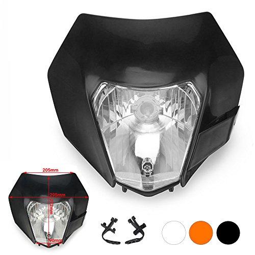 Jfgracing nero universale S212V 35W moto alogena faro testa lampada luce carenatura per Honda Kawasaki Suzuki Yamaha KTM Pit Bike Enduro
