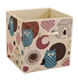 Suyi Cute faltbarer Schmuck Kosmetik Leinen Schreibtisch Aufbewahrungsbox Halter Bürartikel-Aufbewahrungskorb Mülleimer, 27x 27x 28cm, mit Griff. Gufo