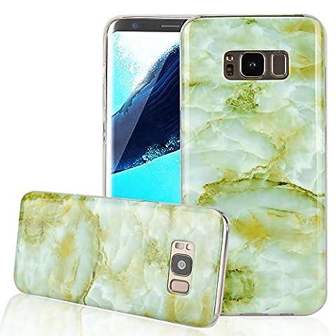 Dexnor Samsung Galaxy S8Coque en silicone Marbre Coque de protection souple fin en caoutchouc TPU Bumper Coque arrière Accessoires pour Samsung Galaxy S8Marbre Motif pierre, vert foncé, Samsung Galaxy S8