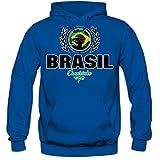 Shirt Happenz Fútbol Brasil V2 Sudadera con Capucha | Hombre | Fútbol | Equipo Nacional | Selección Nacional | Brasil | Seleção | Canarinho | Hoody, Couleur:Blau (Royalblue F421);Taille:Medium