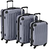 HAUPTSTADTKOFFER – Alex – Set of 3 Hard-side Luggages Glossy Suitcase Hardside Spinner Trolley Expandable (S, M & L) Silver