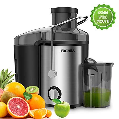 Entsafter für Obst und Gemüse aus Edelstahl FOCHEA Zentrifugaler Entsafter Juicer 65 mm Breite Einfüllöffnung 3 Geschwindigkeiten mit 450ml Saftbehälter und Reinigungsbürste