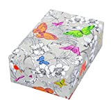 Geschenkpapier Rolle 50 cm x 50 m, Motiv Flora, Schmetterlinge glänzend veredelt. Für Geburtstag, Frauen.