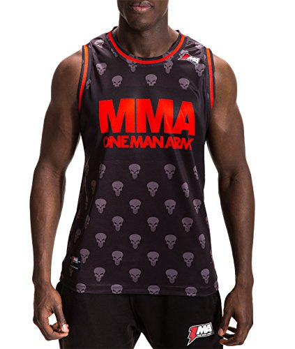 ONE MAN ARMY MMA Jersey Tank Top, Muscle Shirt, Atmungsaktiv, schwarz-rot (Jersey Herrliche Gerippte)