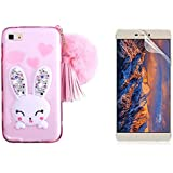 Huawei P8 Lite Funda, Bonice Bling Animal Carcasa Transparent Suave TPU 3D Cute Cartoon Rabbit Case Ultra Delgado + HD Screen Protector - Conejo Rosa
