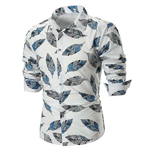 Cloom Hawaii Hemd Herren Schwarz Weiß Slim Fit T-Shirt Herren Poloshirt Herren Männer Persönlichkeit Langarm Shirt Tops Sweatshirt Tops Outwear Sport Herren Bekleidung Herbst(Weiß,Medium) (Weiße Langarm-hawaii-shirt)