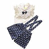 Sannysis Baby-Mädchen Bow Top + Polka-Punkt-Gurt Shorts Set (110, Blau)
