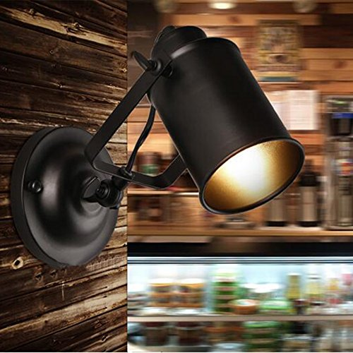 E27 Wandleuchte Vintage Eisen Schwarz Wandlampe Retro Café Loft Bar Wandbeleuchtung Glas Lampeschirm Edison E27 110-240V max 60W