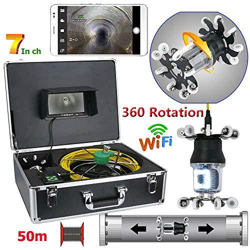 JKYQ 7 Zoll WiFi Rohrinspektion Videokamera Drain Kanalrohrleitung Industrielle Endoskop unterstützung Android/IOS 360 Rotation 50 Mt HD CCD 800TVL,30M Ccd-farb-industrie-video-kamera
