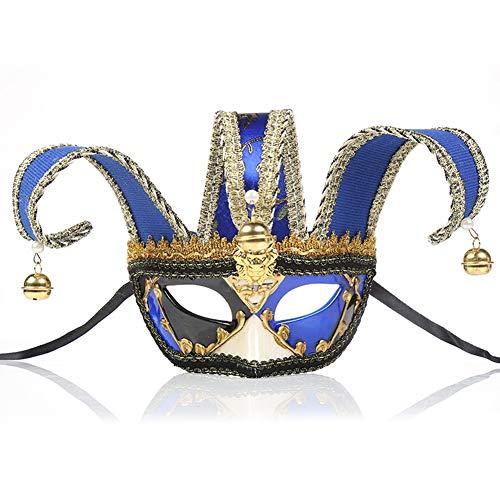 DFGHN Unisex mysteriöse Maskerade Maske, Lace Splice kreative Halloween Maske Herren Kostüm Party venezianische Maske,Blue (Herren Kostüm Kreativ)