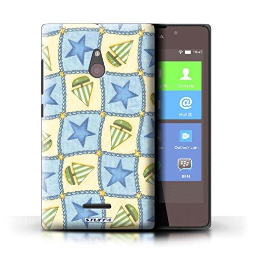 Kobalt® Imprimé Etui / Coque pour Nokia XL / Violettes/Vertes conception / Série Bateaux étoiles Bleu/Vert