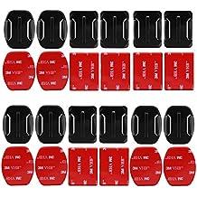 D & F 6pcs cinta de curvo + 6pcs plana adhesivo VHB adhesivas de doble cara montaje con adaptador para GoPro SJCAM yi 4K Acción Cámara & casco Accesorios Kit