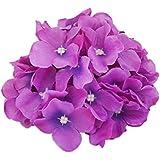 20x Flores De Color Púrpura Hortensias Cabeza Decoración De Flores De Seda De La Boda En Casa Artificial