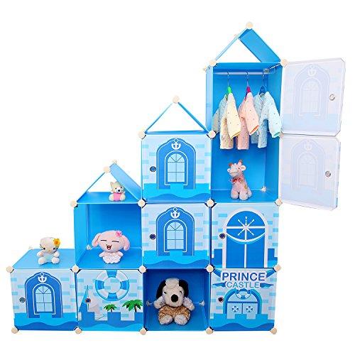 –Estantería Armario Ropero Armario de taquilla caja para juguetes, DIY Niños (Sistema Estantería Armario Azul 10Raster Capacidad 430L
