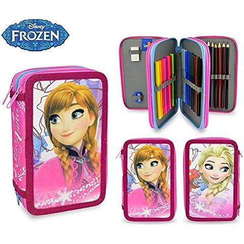 FR16109 Astuccio portapastelli 3 cerniere 43 pz scuola Disney Frozen colori. MEDIA WAVE store