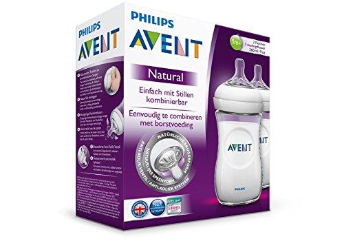 Philips AVENT Natural SCF693/37 Feeding Bottle, 260 ml – Transparant, Pack of 3