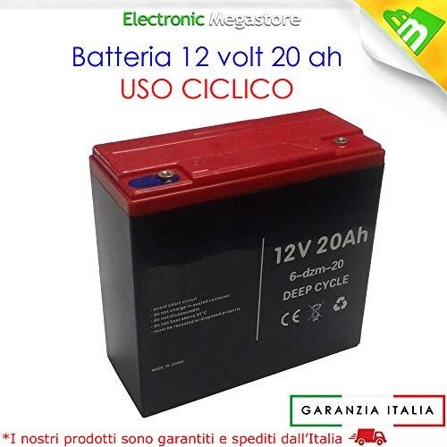 BATTERIA RICARICABILE AL PIOMBO 12V 20AH DEEP CYCLE CICLICA PER BICI BICICLETTE ELETTRICHE SCOOTER CARROZZINE ELETTRICHE 6DZM20 6-DZM-20 USO CICLICO CARRELLI ELETTRICI MOTORI TRAZIONE ELETTRICA