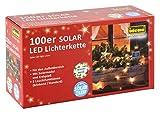 Idena LED Solarlichterkette 100-er mit Solarmodul und Erdspieß, 2 Leuchtfunktionen, warmweiß, 30440