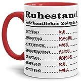 Tassendruck Geschenk-Tasse zum Ruhestand mit Wochenplan/Rente / Rentner/Pension / Abschieds-Geschenk/Innen & Henkel Rot