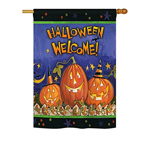 (Breeze Decor H112079Halloween Welcome Vertikal House Flagge, 71,1x 101,6cm Multicolor)