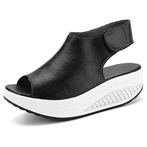 Greaten Frauen Echtes Leder Peep Toe Walking Platform Wedges Sandalen Form Ups Heeled Schuhe Sneakers (Peep Spiel)