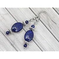 Boucles d'oreille Thurcolas en Lapis Lazuli ovale de la gamme Medicis en acier inoxydable