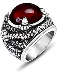 De acero inoxidable de los hombres de titanio JewSteel garra Zircon Piedra envejecido anillo grande rojo