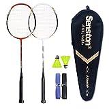Senston 2 Player Badminton Set Carbon Badmintonschläger Graphit Badminton Schläger mit Schlägertasche - 3 Farbe