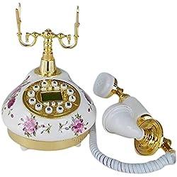 Teléfono Fijo Antiguo Vintage Retro Cerámica Casa Mesa Oficina