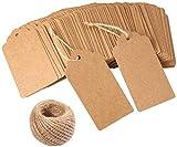 BeGrit etichette regalo marroni 100 pezzi etichette in carta kraft 9 cm * 4,5 cm con spago in juta 10M per decorazioni matrimonio compleanno Capodanno natalizie
