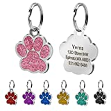 Beirui Stainless Steel Glitter Paw Print ID Tags for Dogs and Cats - Personalised Dog Tags Engraved,Pink,S(0.9' diameter)