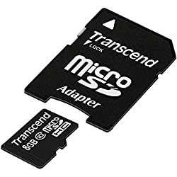 Transcend TS8GUSDHC10E Class 10 Extreme-Speed microSDHC 8GB Speicherkarte mit SD-Adapter [Amazon Frustfreie Verpackung]