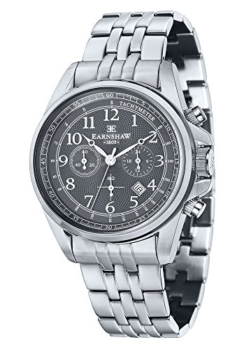 Thomas Earnshaw ES-8028-33 Orologio da Polso Cronografo da Uomo, Cinturino in Acciaio Inossidabile, Colore Argento