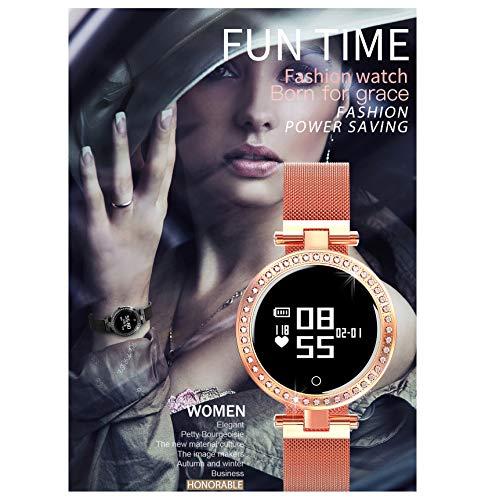 XZHFC Smartwatches, benutzerdefinierte Smartarmbänder für Damen, Exklusive Elegante Damenuhren, Herzfrequenzüberwachung, Schlafüberwachung, Nachrichtenschub usw (Gold)