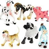 Generic Plastic PVC Farm Animal Model Set Kids Toy Gift 6pcs Multi-color